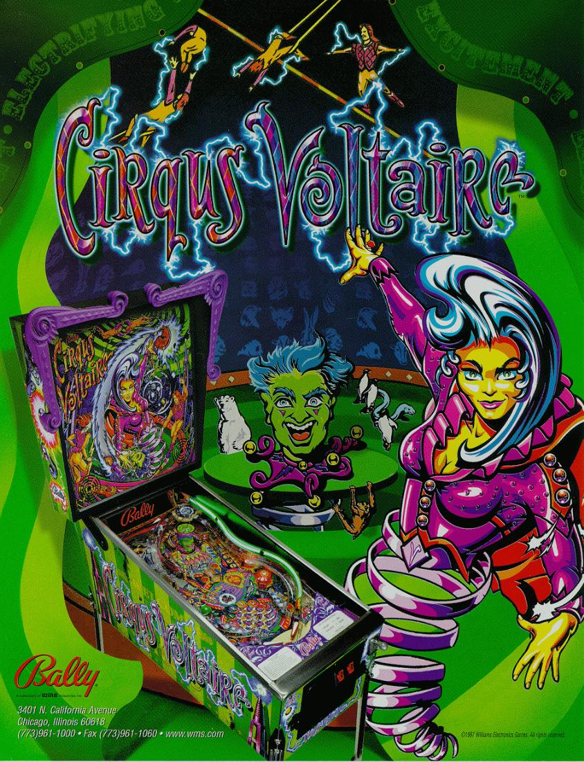 bally   u0026quot cirqus voltaire u0026quot  pinball game