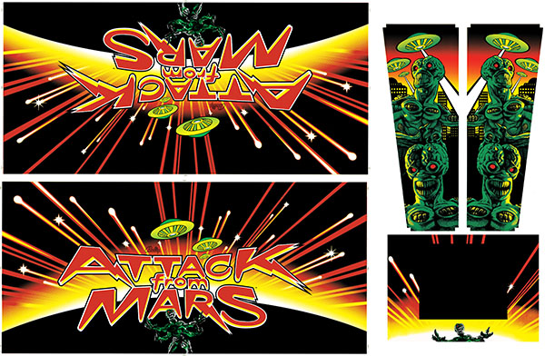 Planetary Pinball Attack From Mars Cabinet Decal Set 5
