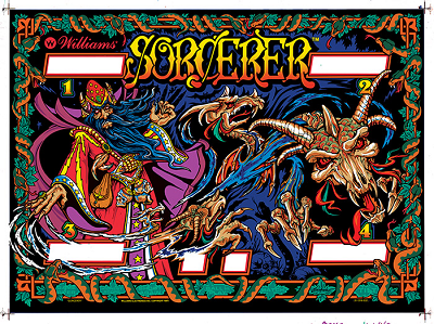 Sorcerer Backglass – Silkscreened w/Mirror!